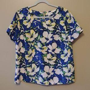 J Crew Factory Floral Print Blouse Large L Blue